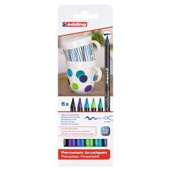 Marker Edding 4200, portelan, culori reci, varf 1-4 mm, 6 bucati/set